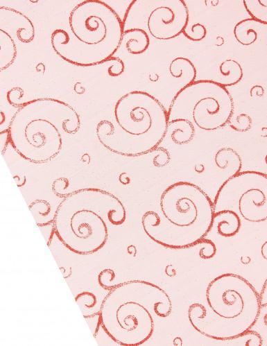Chemin de table rouge en organza 5 m : motifs arabesques paillettes-1