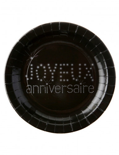 10 Assiettes noires en carton Anniversaire Chic 23 cm
