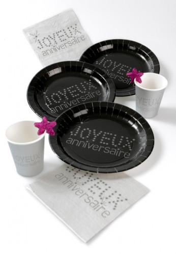 10 Assiettes noires en carton Anniversaire Chic 23 cm-1