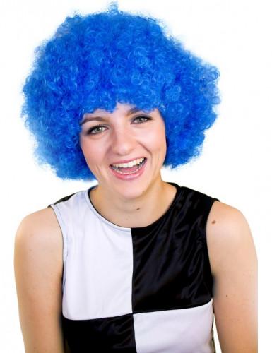 Perruque afro/ clown bleue basique adulte