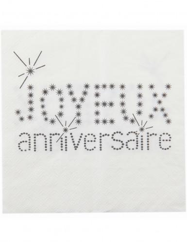 20 Serviettes en papier Anniversaire Chic blanches 33 x 33 cm