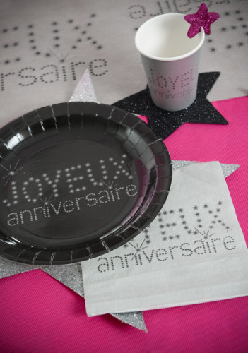 20 Serviettes en papier Anniversaire Chic argentées 33 x 33 cm-1