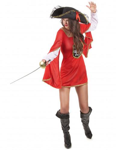 Déguisement mousquetaire rouge femme-1