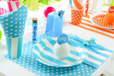 10 Assiettes à rayures turquoise et blanches en carton 23 cm-1