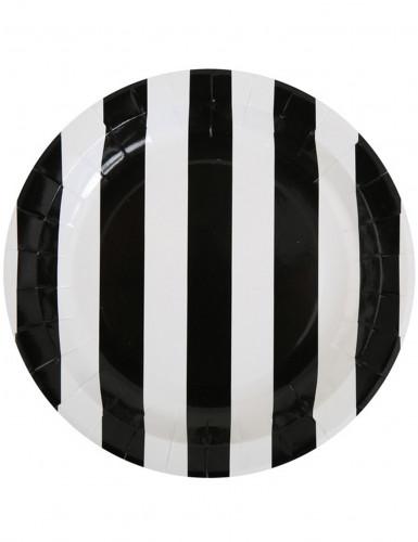10 Assiettes à rayures noires et blanches en carton 23 cm