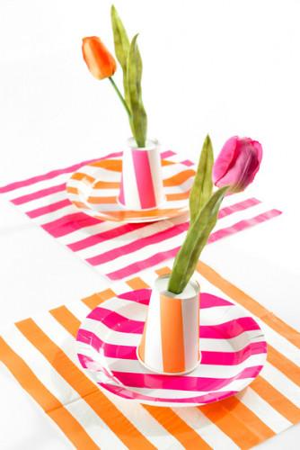 10 Assiettes à rayures orange et blanches en carton 23 cm-1