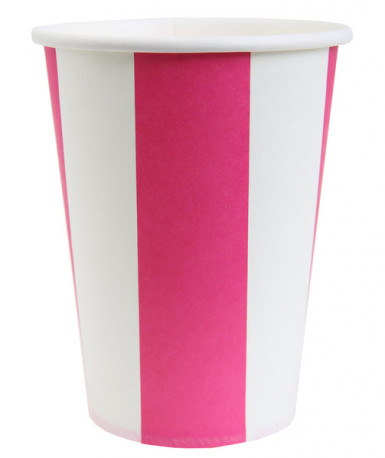 10 Gobelets rayés rose et blanc