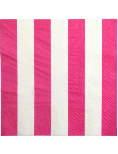 20 Serviettes en papier Rayées fuchsia et blanc 33 x 33 cm