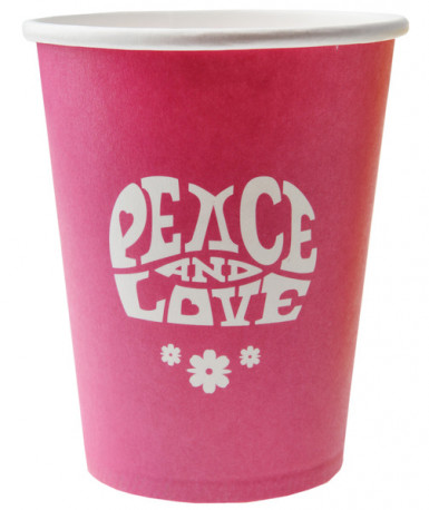 10 Gobelets fuchsia Hippie Peace and Love