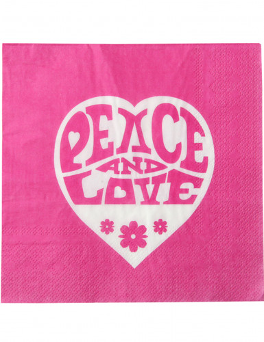 20 Serviettes en papier Hippie Fuchsia Peace and Love 33 x 33 cm