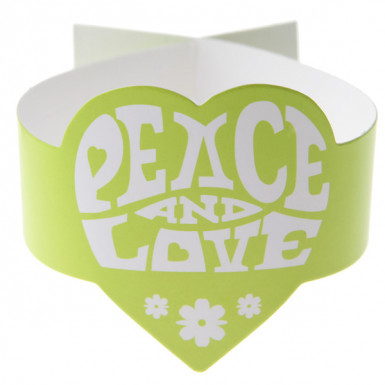 6 Ronds de serviette verts Hippie Peace and Love