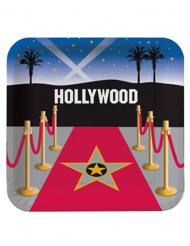 8 Assiettes carrées en carton Tapis rouge Hollywood 23 cm