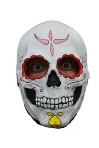 Masque squelette contour des yeux rouge