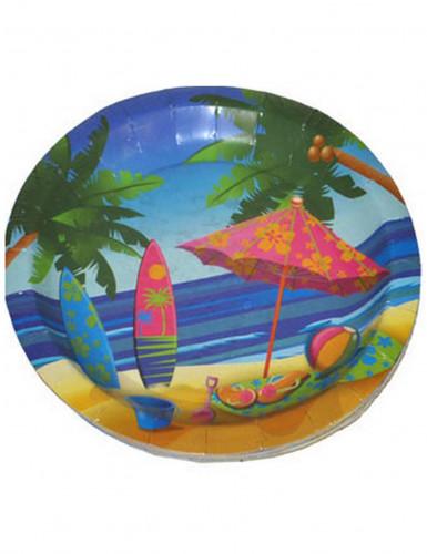 8 Assiettes en carton vacances Hawaï 22 cm