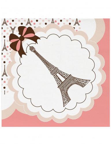 16 Serviettes en papier Tour Eiffel 33 x 33 cm