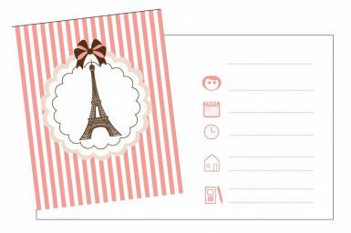 8 Cartes d'invitation avec enveloppes Tour Eiffel Parisienne