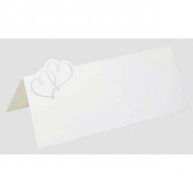 12 Marque-places blancs coeurs entrelacés