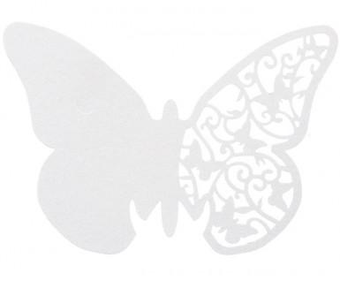10 papillons dentelles blancs marque verre