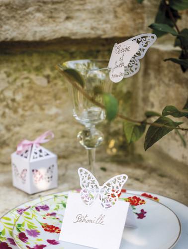 10 papillons dentelles blancs marque verre-1