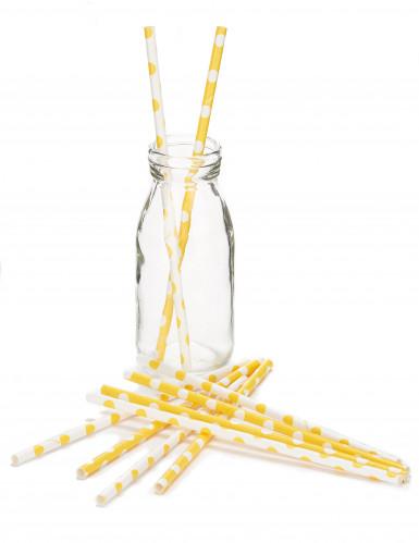 10 Pailles jaunes à pois blanc-1
