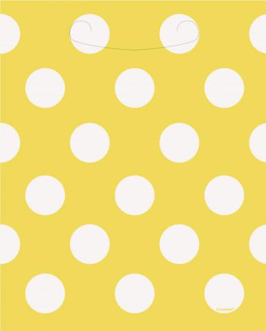 8 sacs cadeaux jaunes à pois blanc