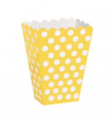 8 Boîtes pop corn jaune à pois blanc