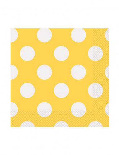 16 Petites Serviettes en papier Jaunes à pois blanc 25 x 25 cm