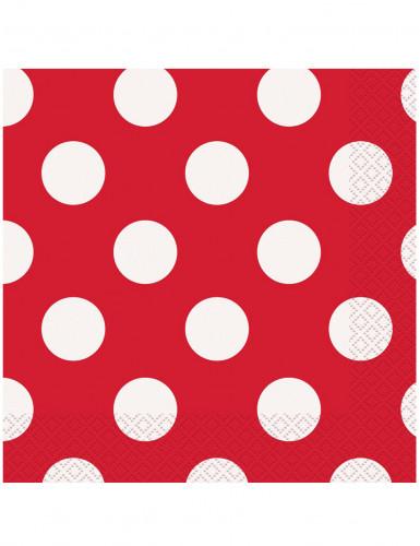 16 Serviettes en papier Rouges à pois blanc 33 x 33 cm