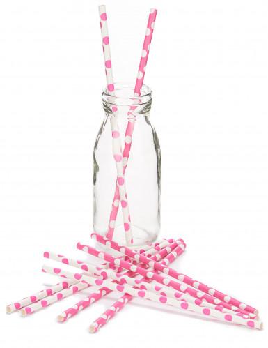10 Pailles en carton rose à pois blancs 21 cm-1