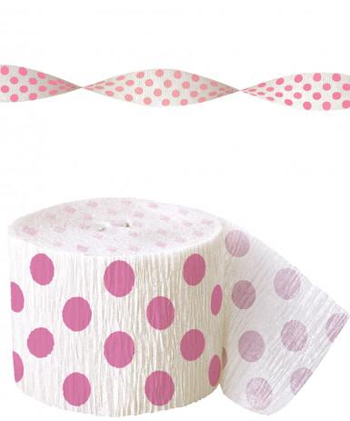 Guirlande de papier crépon blanche à pois rose