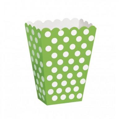 8 boîtes pop corn verte à pois blanc