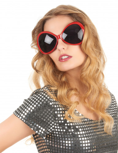 Lunettes disco adulte rouge-1