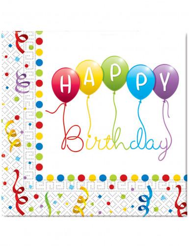 20 Serviettes en papier Happy birthday 33 x 33 cm