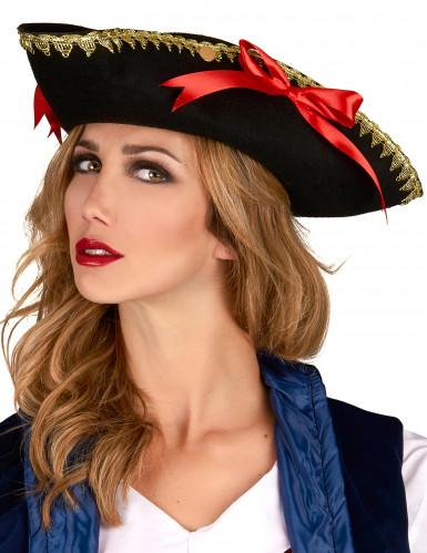 Chapeau tricorne noeuds rouges femme-1