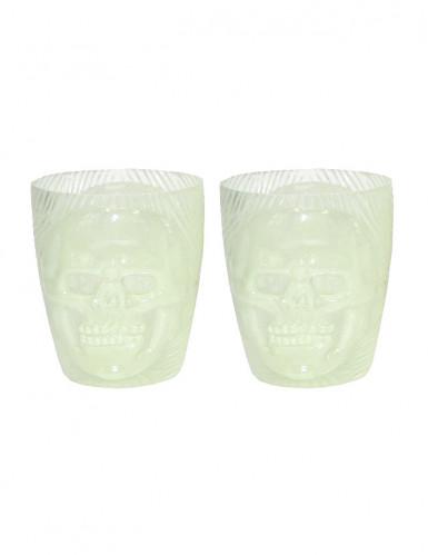 Lot 2 verres fluo tête de mort