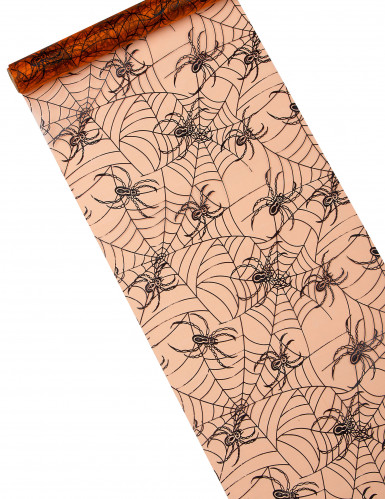 Chemin de table organza orange araignées Halloween 5m