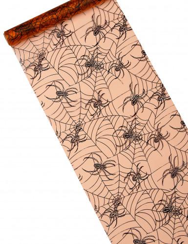 Chemin de table organza orange araignées Halloween 5m