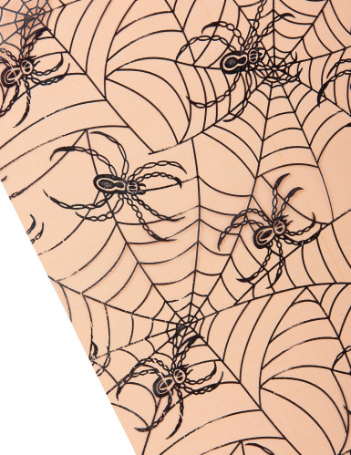 Chemin de table organza orange araignées Halloween 5m-1
