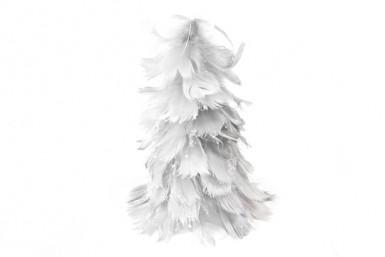 Petit sapin de Noël à plumes gris argenté 15 cm