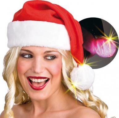 Bonnet Noël pompon lumineux adulte