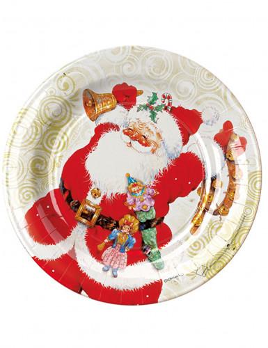 8 Assiettes en carton Père Noël 23 cm