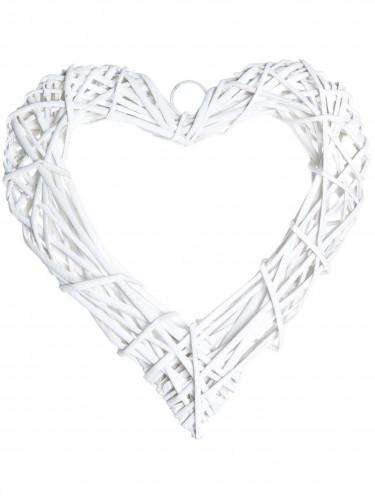 Coeur en osier tressé 20 cm blanc