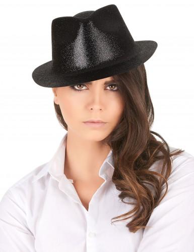Chapeau pailletté noir adulte-1