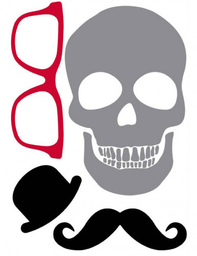 Stickers tête de mort moustache 50 x 70 cm