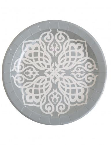 10 Assiettes en carton Mariage Oriental argent 23 cm