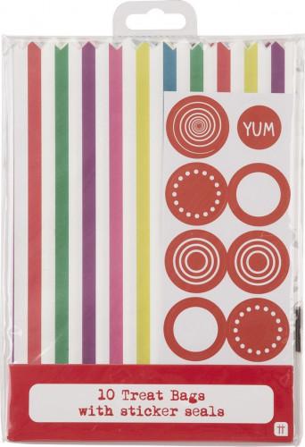 10 Sachets papier rayés multicolores-1
