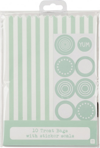 10 Sachets rayés en papier menthe et blancs-1