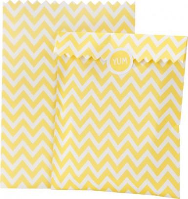 10 Sachets chevron en papier jaunes et blancs