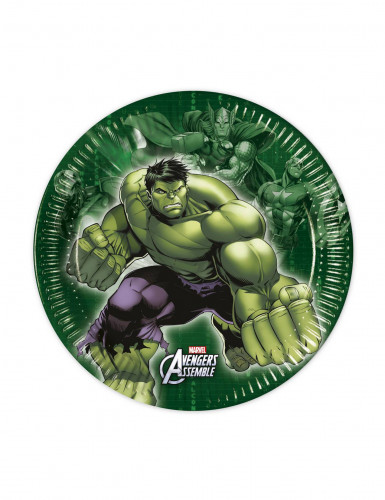 8 Petites assiettes en carton Avengers™ 19.5 cm