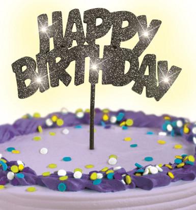 Décoration pour gâteaux noire lumineuse Happy Birthday -1